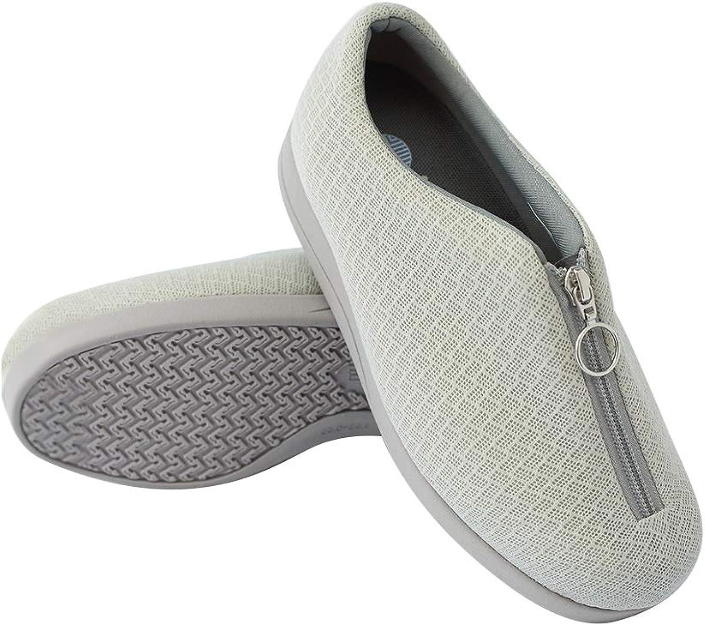 JasmineLi Men Womens Breathable Edema Zipper shoes Diabetic Swollen shoes Pregnant shoes
