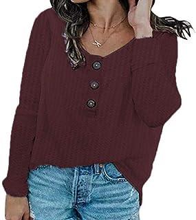 Loyomobak Women Fashion Shirt Long-Sleeve Buttons Loose Waffle Tee Shirts Blouse Top