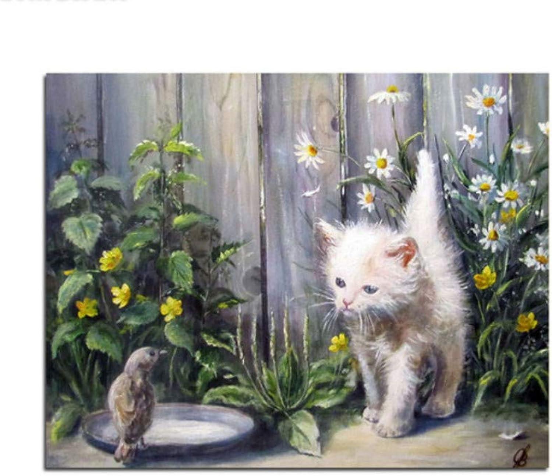 Menddy Katzen-VogelBlaumen und Gras-Malen nach Zahlen Tierfarbton nach Zahlen mit gerahmtem 40x50cm B07PDXRS6C | Flagship-Store
