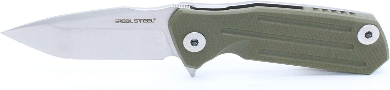 Exclusive Limited Run Real Steel Control Flipper Pocket Knife 3605F Green G10 Handle D2 Steel 7213