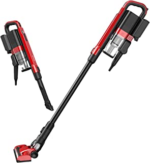 Cordless Vacuum Cleaner, Sancusto 2-in-1 Flat Nozzle Brush Rechargeable Vacuum Cleaner, Lightweight Upright Vacuum, Handheld Stick Floor Sweeper Vacuum for Floor Carpet Pet Hair, Lava Red