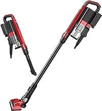 Cordless Vacuum Cleaner, Sancusto 2-in-1 Flat Nozzle Brush Rechargeable Vacuum Cleaner, Lightweight Upright Vacuum, Handheld Stick Floor Sweeper Vacuum for Floor Carpet Pet Hair, Lava Red