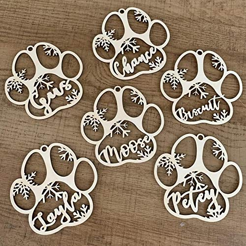 GadgetsTalk Custom Dog Paw Christmas Ornament- Personalized Your Dog's Name - The for a Dog Lover. Christmas Ornament, Christmas Tree Decorations (3pcs get