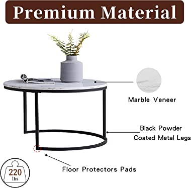 MGRL Round Nesting Coffee Table Set for Living Room Modern Wood Accent Coffee Table with Faux Marble Top and Metal Legs for S