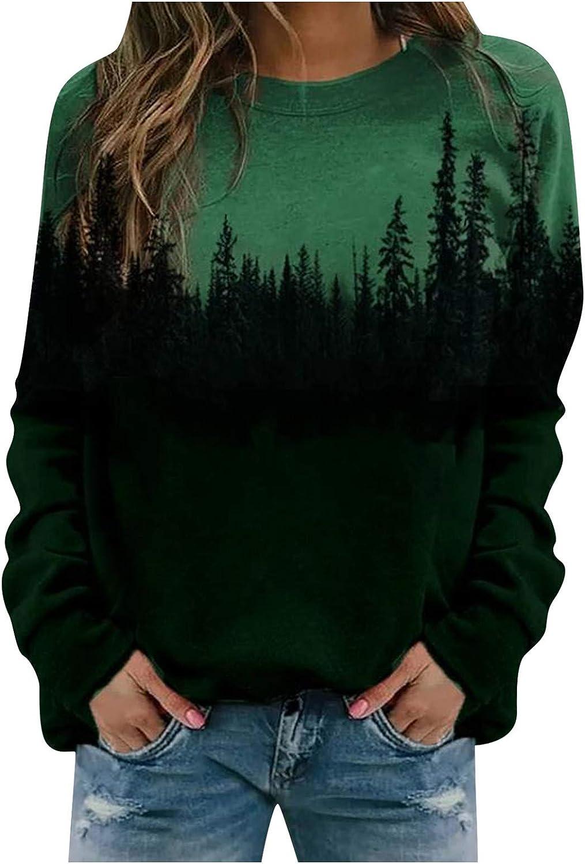Wugeshangmao Crewneck Hoodies for Women Thermal Long Sleeve Casual Print Pullover Sweatshirt Loose Ladies Blouse Tops