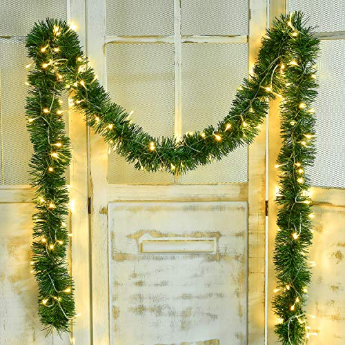 DearHouse 16.4 Foot Christmas Garland Decorations with 40 LED Light, Green Holiday Decor for Outdoor or Indoor Home Garden Artificial Greenery, or Holiday Party Decorations