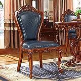 Butaca de cuero, madera maciza-doble cara tallada de la vendimia americana Comedor simple unidad de la silla 2 Piezas Azul Silla linda (Color : Azul)