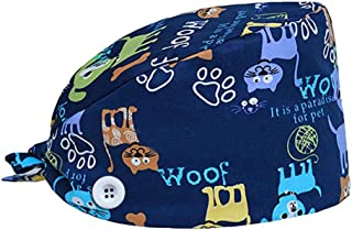Adjustable Bouffant Hats with Buttons Head Scarf Working Cap for Women and Men Blue