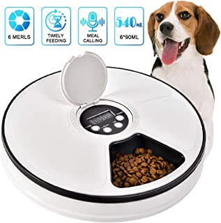 Pet Automatic Feeder for Cats Dogs, Timed Food Dispenser 6 Meal Trays Dry Wet with Voice Remind,LCD Smart Programmable Self Container Digital Clock Portion Control