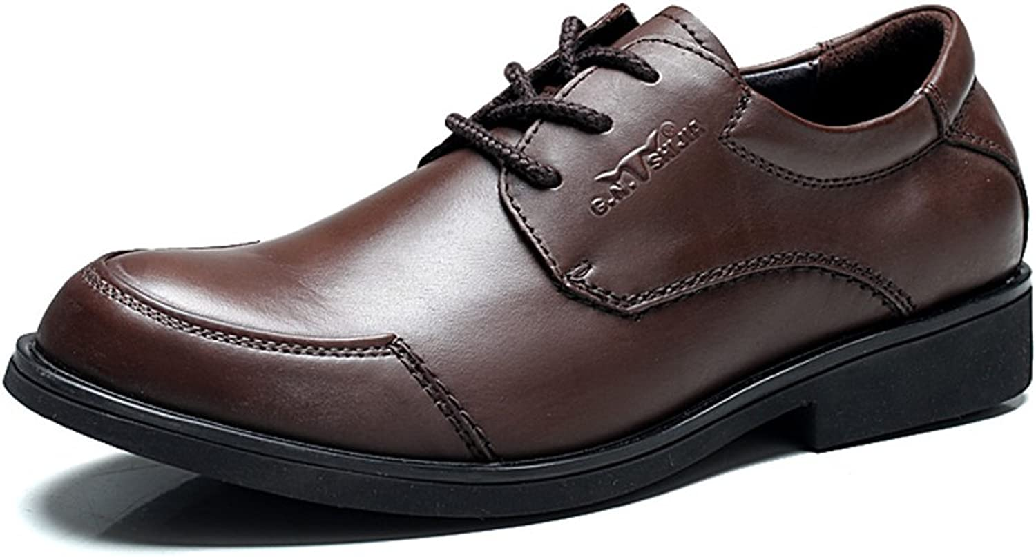 Men's Modern Leather Lace-up Flat Oxford Sneakers Dress shoes ( color   Brown , Size   9.5 D(M)US )