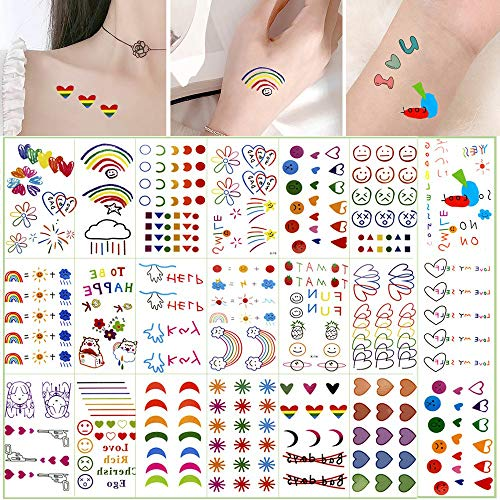 EBANKU 30 Sheets Fake Tiny Summer Temporary Tattoos Sticker, Smiley, Waterproof Flowers, Hearts, Rainbow, Assorted Colorful Patterns for Women Kids Valentine's Day Tattoos Decoration