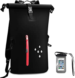 AMASENG Waterproof Dry Bag 25L Dry Backpack 500D PVC Heavy Duty Roll-Top Closure with Zipper Pocket with IPX8 Waterproof Phone Case Dry Sacks