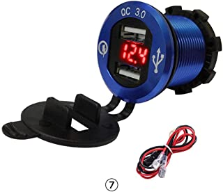 RUNGAO QC 3.0 Dual USB Charger Socket Car Power Outlet Marine Cigarette Lighter Adapter LED Voltmeter for 12V/24V Boat Motorcycle Truck Blue & Red light