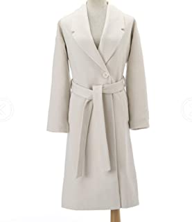 Women Simple Cashmere Look Maxi Long Robe Belted Coat Woolen Outerwear Manteau Abrigos Mujer