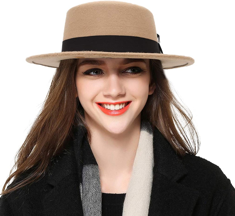 BogiWell Women's Classic Wool Felt Pork Pie Hat Flat Top Church Fedora Hat
