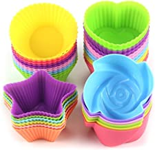 LetGoShop Silicone Cupcake Liners Reusable Baking Cups Nonstick Easy Clean Pastry Muffin Molds 4 Shapes Round, Stars, Heart, Flowers, 24 Pieces Colorful