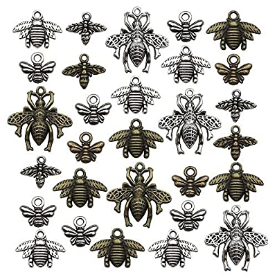 Antique Silver bee Charms