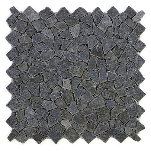 Divero 4 Fliesenmatten Naturstein Mosaik aus Andesit für Wand und Boden schwarz á 50 x 50 cm