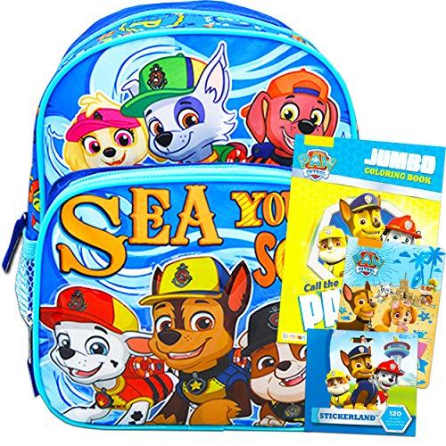 Paw Patrol Mochila para niños preescolar, paquete de 10 pulgadas, mini mochila con libro para colorear,…