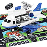 Airplane Toy, Large Transport Cargo Airplane Toy- STEM Educational Play car Mat, 7 Sets Die cast Police Mini Toys Cars...