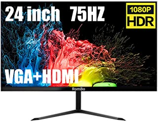 Full HD Pc Monitor 24 Inch, 1920 X 1080P Gaming Monitor Compatible HDMI And VGA Inputs, 75 Hz, 2Ms Reponse Tim, Low Blue L...