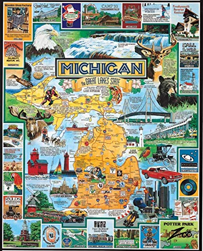 Best of Michigan Puzzles for Adults, 300 Piece Kids Jigsaw Puzzles Game Toys Gift for Children Boys and Girls, 10' x 15'