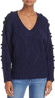 Molly Bracken Women's Cable Knit Pom Pom Long Sleeve V-Neck Sweater