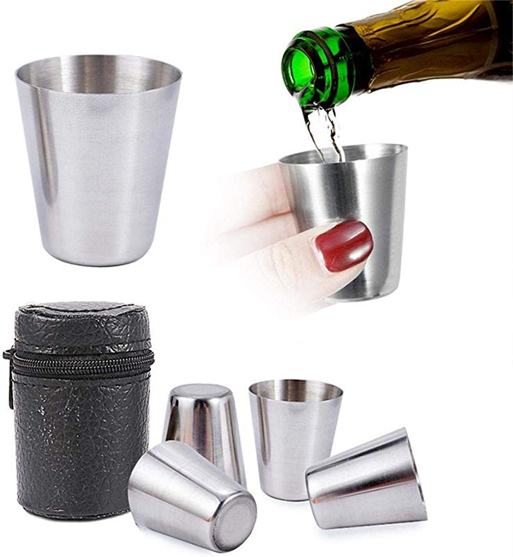 Bravet 4Pcs 30ml Portable Stainless Steel Wine Beer Cups Outdoor Camping Hiking Mugs Set Wine Glasses