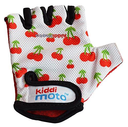 KIDDIMOTO Kinder Fahrradhandschuhe Fingerlose für Jungen und Mädchen/Fahrrad Handschuhe/Bike Kinder Handschuhe - süße Kirschen - S (2-5y)