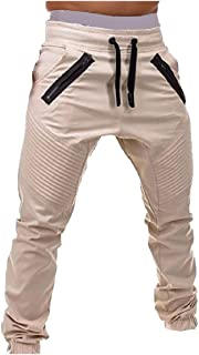 EnergyMen Pure Color Mid-Rise Pleated Close Bottom Fit Casual Sweatpant