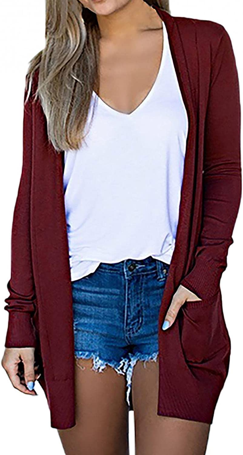 SPOORYYO Fall Cardigan Sweaters for Women Lightweight Chunky Kint Coat Casual Long Sleeve Outwear with Pocket Jackets