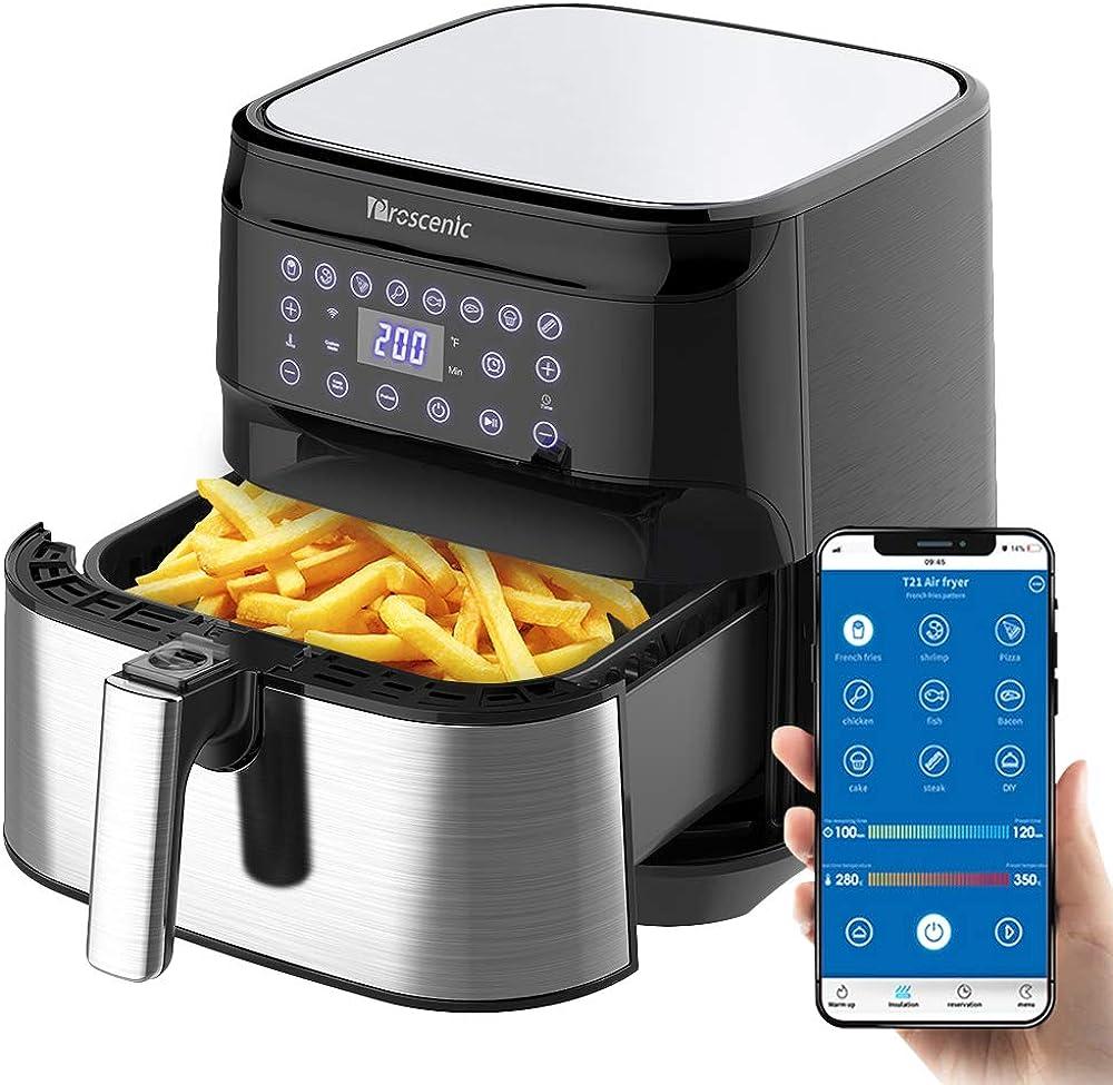 Proscenic t21 friggitrice ad aria, 5.5l air fryer controllo con app & alexa e display led