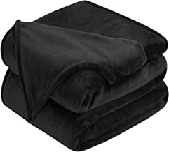 HOMEIDEAS 380GSM Extra Soft Fleece Throw Blanket Fuzzy Winter Super Warm Flannel Blanket for Couch Bed 50 x 60 Inches, Black