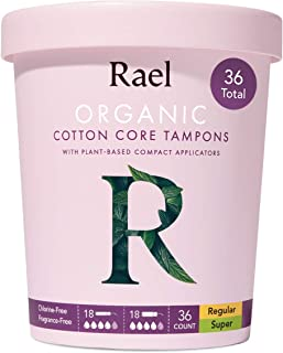 Sponsored Ad - Rael Organic Cotton Compact Tampons - Regular & Super Size, Plant Based Applicator, Chlorine Free, Compact ...