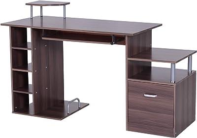 HOMCOM Mesa para PC Tipo Escritorio de Oficina para Ordenador ...
