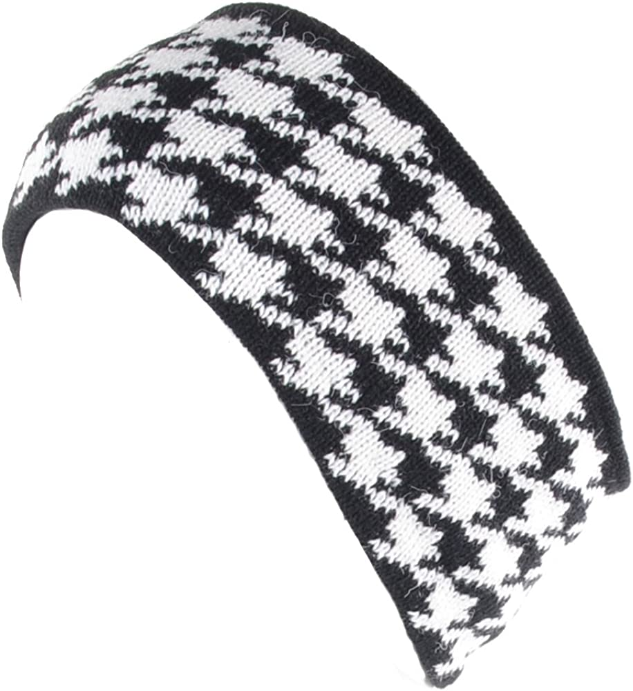 BYOS Womens Winter Warm Stylish Houndstooth Fleece Lined Knit Headband Head Wrap Ear Warmer