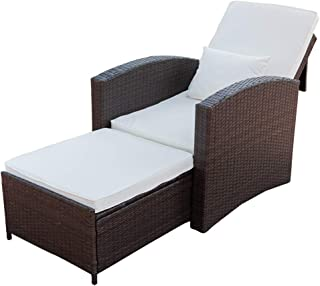PatioPost Recliner Chair Push Back Club Outdoor Living Room Single Sofa, Padded Patio Seat Furniture