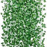 15Pcs * 2m Artificiel Lierre Guirlande Plante Artificielle Exterieur Faux Lierre Feuillage Artificiel Feuille Guirlande Décoration Interieur + 100pcs Attaches Câble (15PCS Artificiel Lierre Guirlande)