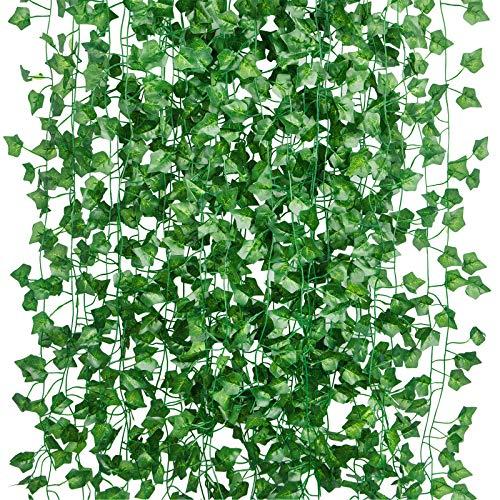YHmall 15 Stück Efeu Künstlich Hängend Girlande Kunstpflanze Deko, Hängepflanze Künstliches Efeu für Büro, Garten, 103 Ft (100 Kabelbinder)