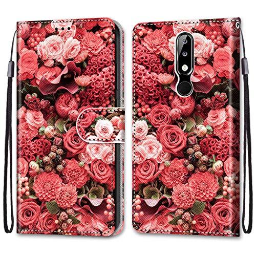 i-Hülle für Nokia 5.1 Plus 2018 PU Schutz Hülle Flip Cover Wallet im Bookstyle Standfunktion Karteneinschub & Magnetverschluß Etui Rote Blumen Handy Hülle PU Leder Stoßfeste Tasche für Nokia X5