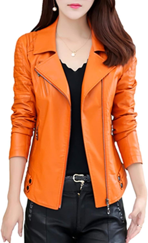 Women's Suit Collar Faux Leather Motorcycle Short Coat Jacket Slim fit