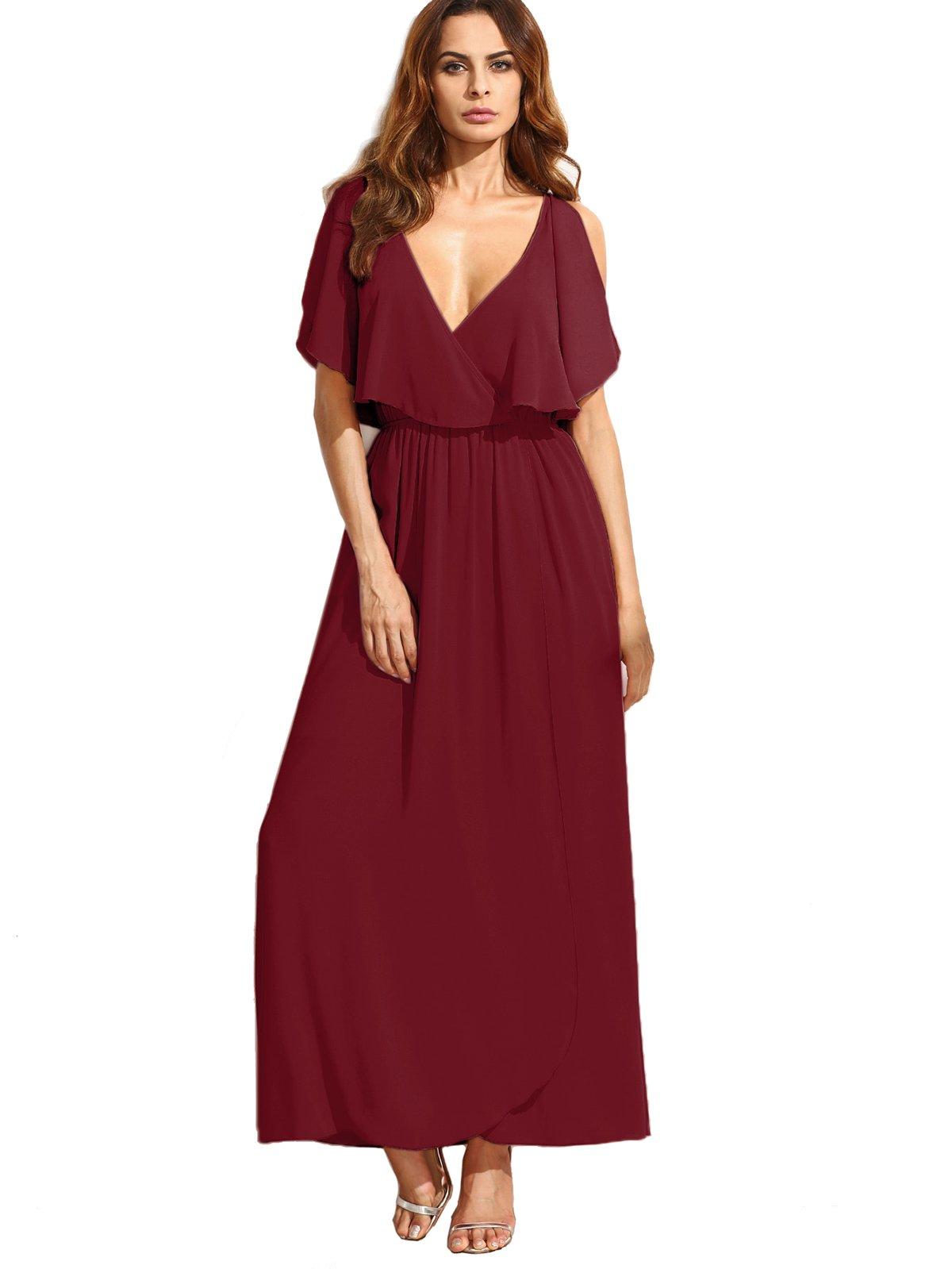 Available at Amazon: Milumia Women's Deep V Neck Ruffle Sleeveless Maxi Dress