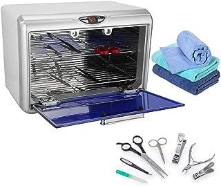 Esterilizador UV Ozono grande con puerta azul dos bandejas y utensilios varios