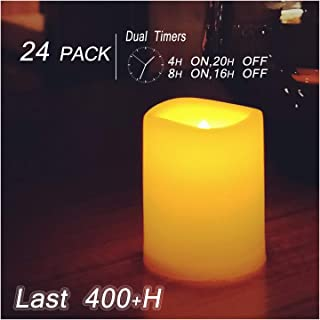 Flameless LED Votive Candles with 4/8H Timers 24 Value Pack Battery Operated Tea Lights for Halloween Jack-O-Lantern Pumpkin Christmas Wedding Party Decorations Table Centerpieces Batteries Included