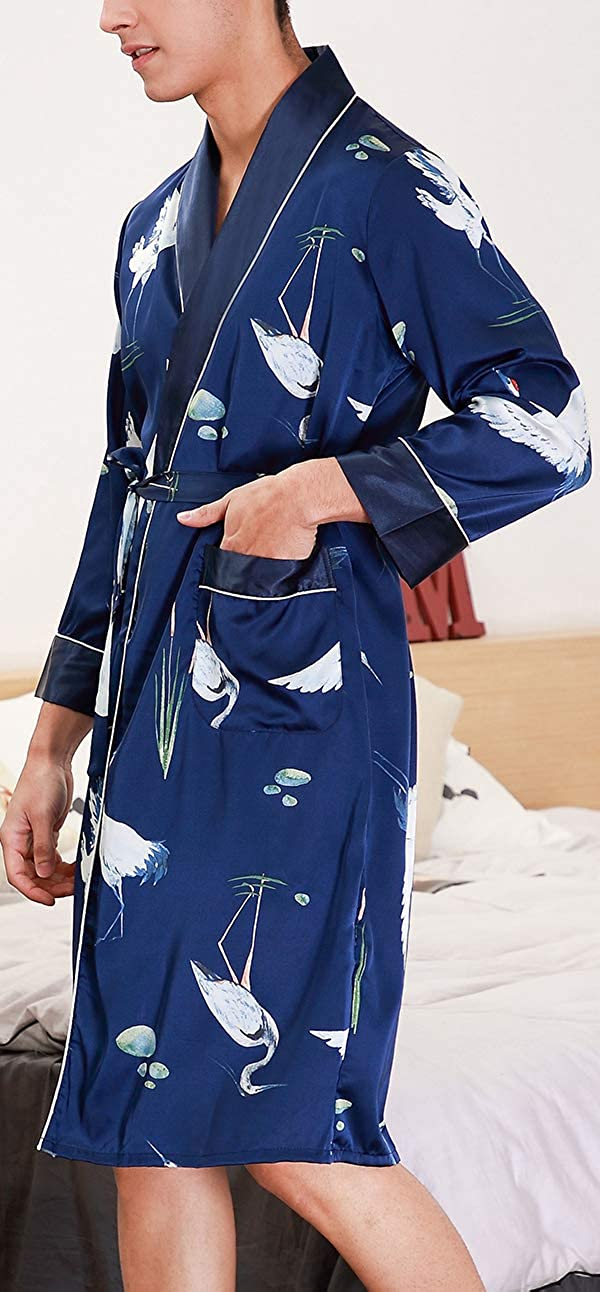 Chaos World Ba/ño Largo para Hombre Sat/én Kimono Pijamas Bata Albornoz para Dormir//Casa//Cama
