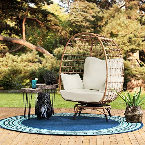 sunjoy patio furniture sets Sunjoy Simon Swivel Egg Cuddle Chair, Light Brown