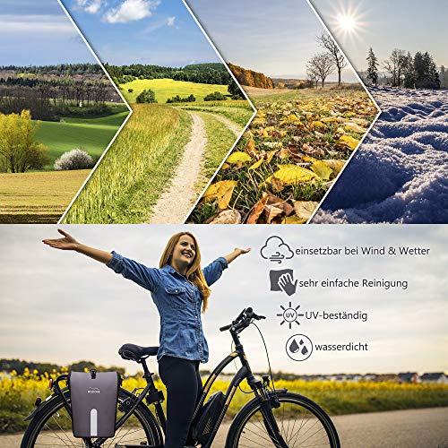 Mozione® Hinterradtasche – Universell passende Fahrradtasche mit bis zu 30l Stauraum – leichte Montage am Gepäckträger Dank mitgeliefertem Zubehör – wasserdichte Gepäckträgertasche mit Reflektoren - 2