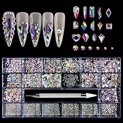 BISHENGYF 3000 Pièces Strass Ongle, Mix Tailles Cristaux à Ongles Nail Art Strass pour Décorations d'Ongles 3D avec Crayon Picker en Strass 05