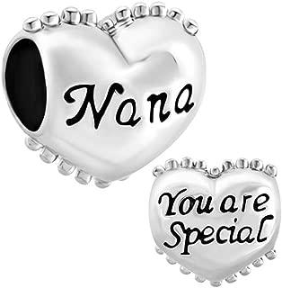 CharmSStory Heart I Love You Family Nana Charms Beads Charm Compatibles for Bracelets
