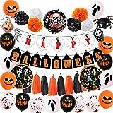 Ahagut Banner de Globos de Halloween Los Globos de Happy Halloween establecen decoración y Accesorios para el jardín de Fiesta de Miedo y la Fiesta de Halloween
